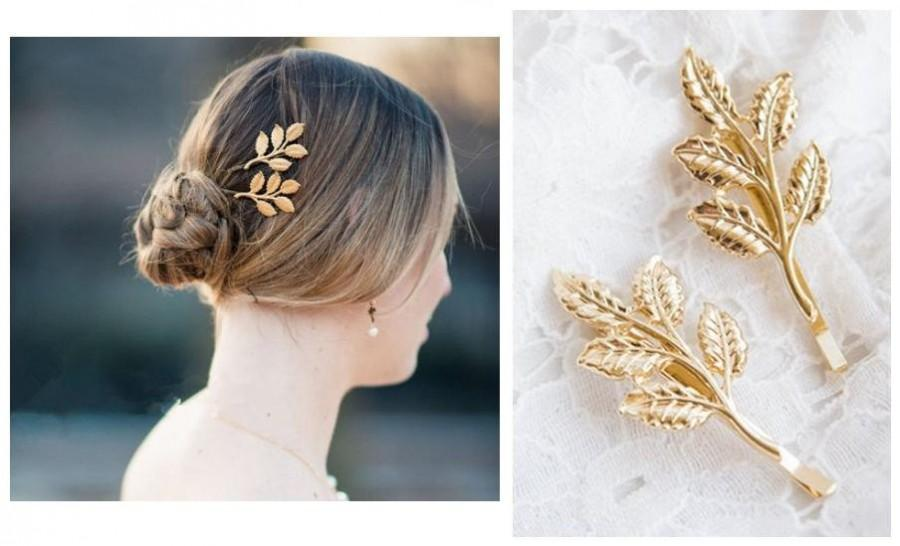 Wedding - Gold  Leaf Hair pin (set of 2) -Gold leaf branch hair pin- Vintage leaf hair pin-Gold leaf branch bobby pin-Bridal Hair pin -Branch Hair Pin