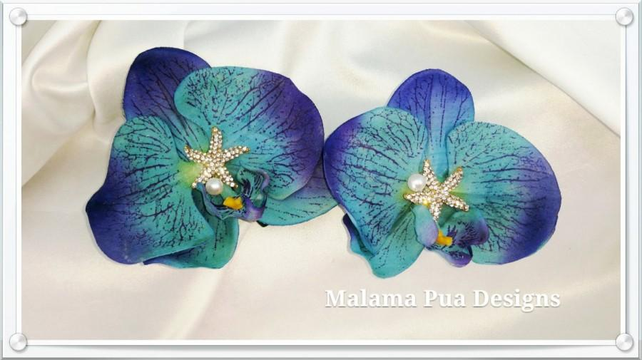 Mariage - Tropical Hair Flower, Bridal flower, Blue Orchid, Wedding, headpiece, Hawaiian flower, Beach wedding, Starfish center, silk flower,hair clip