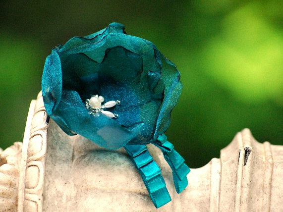 Mariage - Teal Floral Wedding Hair Clip / Comb / Brooch Pin. White Ivory Blue Red Pink Organza Flower. Spring couture elegant bride bridal hair clip