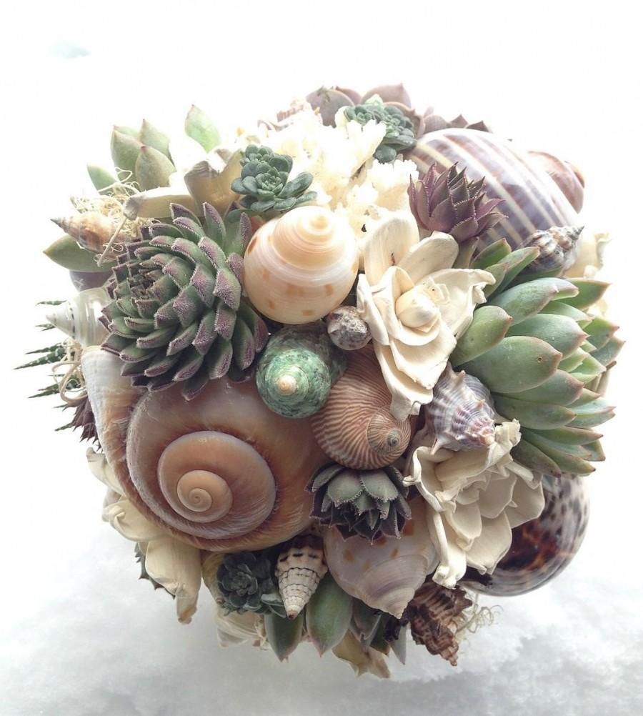 زفاف - Succulents, seashells and sola flower bouquet. Wedding flowers. Beach bouquet.