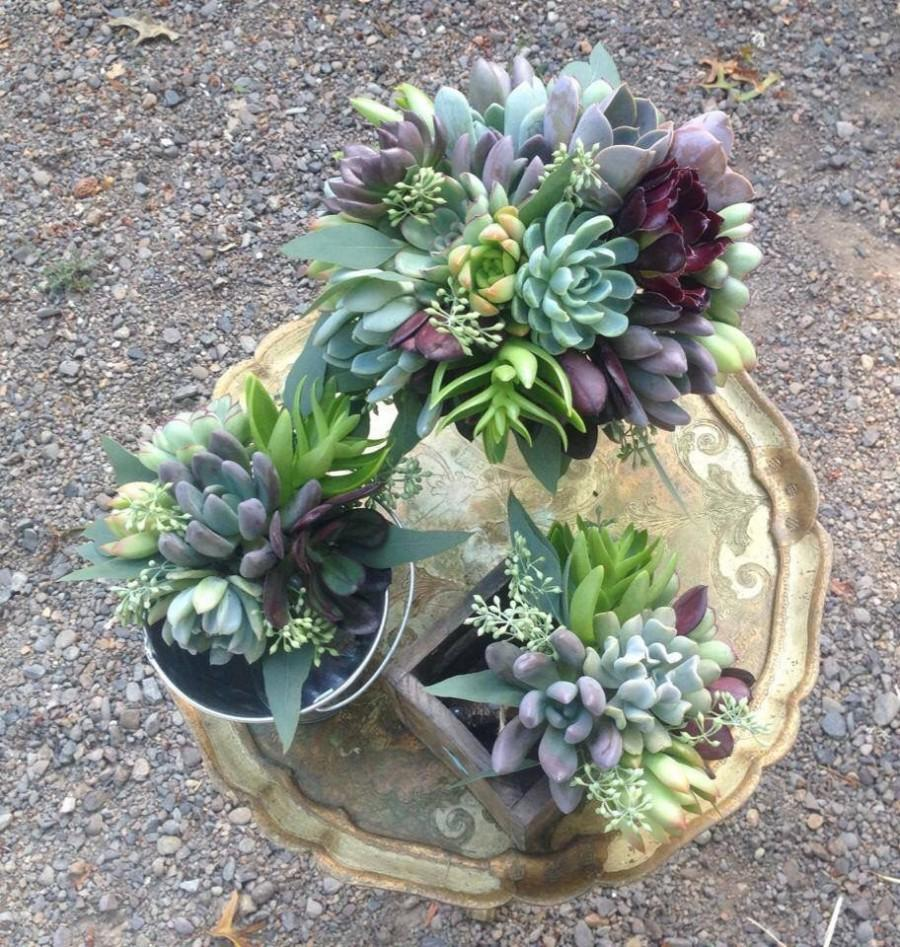 Düğün - Succulent bouquet, variety of textures and colors