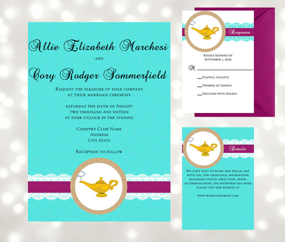 Magic Lamp Arabian Nights Wedding Invitation Suite Inspired By