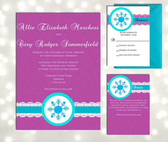 Mariage - Fairy Tale Wedding Snowflake Invitations - Inspired by Disney's Frozen - Winter Wonderland Wedding - Print and Edit at home in Adobe