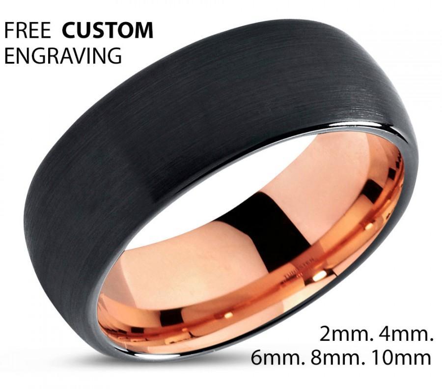 Wedding - Black Tungsten Ring Rose Gold Wedding Band Ring Tungsten Carbide 8mm 18K Tungsten Ring Man Wedding Band Male Women Anniversary Matching