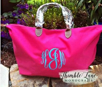 Personalized Tote Bag- Monogram Bridesmaid Bag-Monogram Beach Bag ...