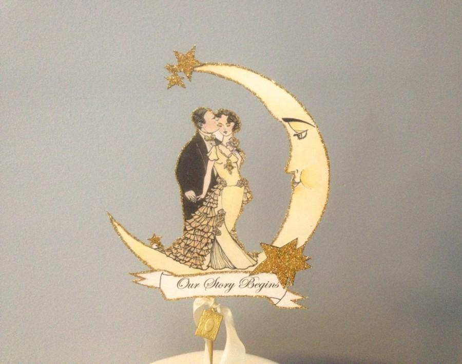 Свадьба - Wedding Cake Topper - Moon -Book Themed - Gold Glitter - Vintage Inspired Bride and Groom