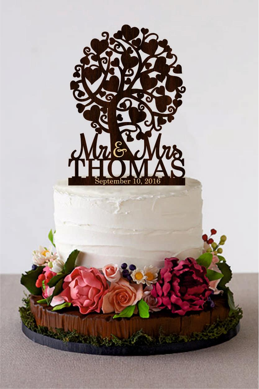 Mariage - Love Tree Wedding Cake Topper Mr and Mrs Cake Topper With Last Name Love Couple Cake Topper  Initial Cake Topper