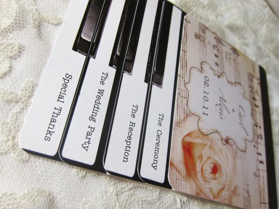 piano wedding programs or invitations layered vintage piano