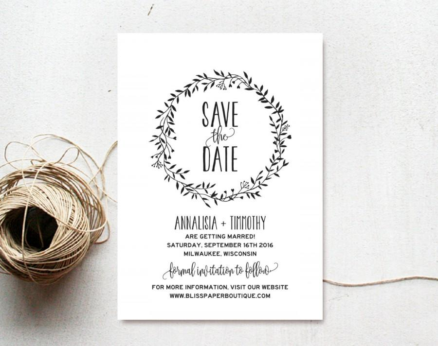 Save The Date Template, Save The Date Printable, Rustic Save The
