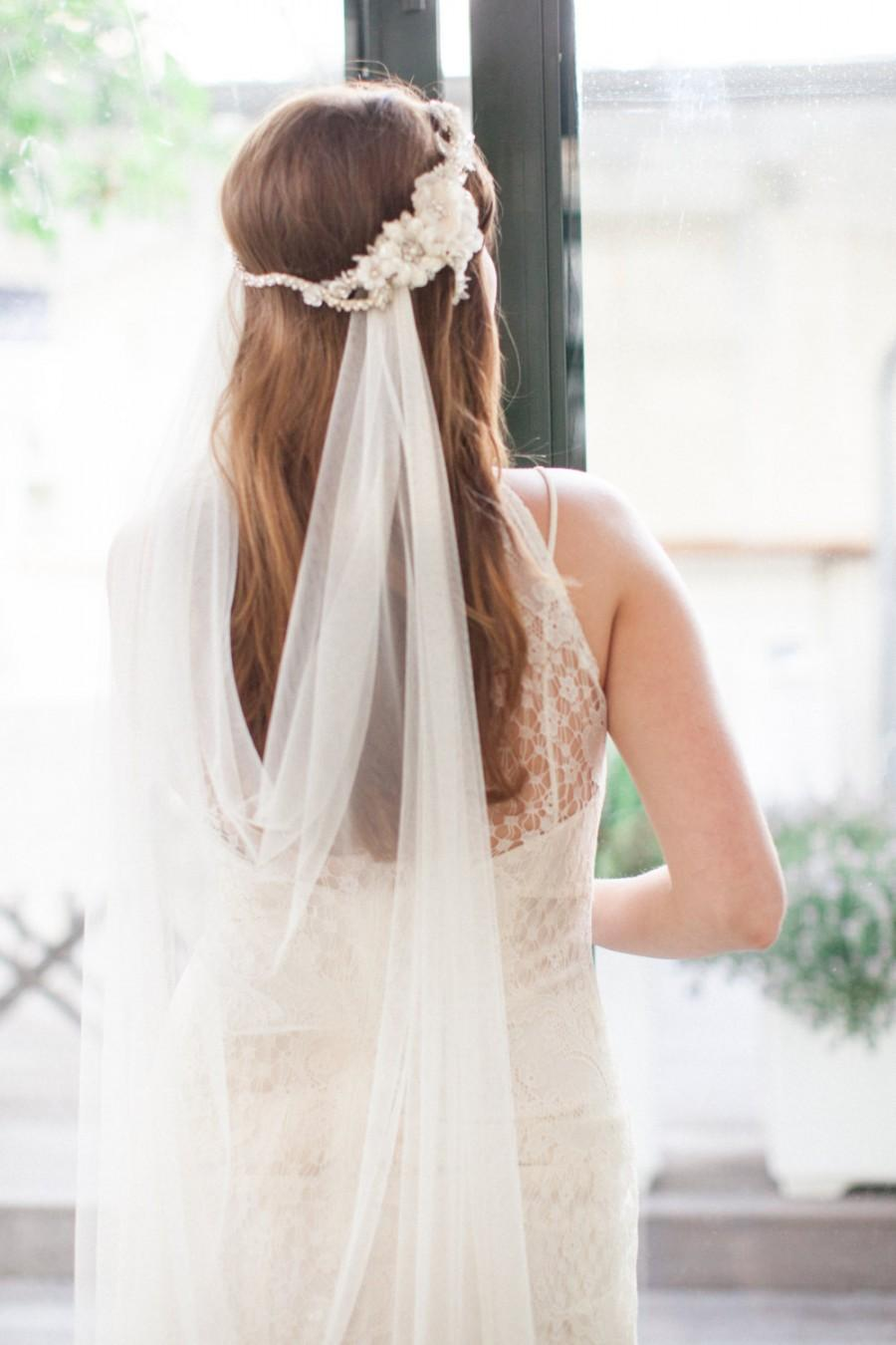 Hochzeit - Silk Tulle Veil - Ivory Wedding Veil - Mantilla Veil - Elbow Length Veil - Simple Bridal Veil - Bohemian Bridal Headpiece - ISABEL