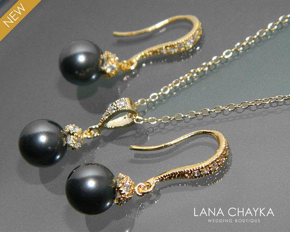 Hochzeit - Black Pearl Gold Jewelry Set Black Pearl Necklace&Earrings Set Swarovski 8mm Pearl Vermeil Gold Cz Set Small Drop Pearl Wedding Jewelry Set