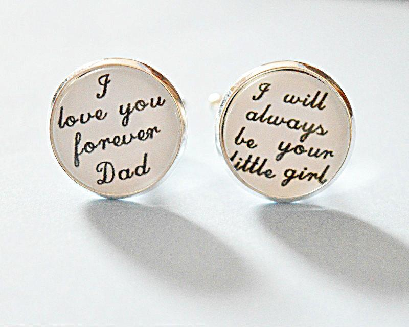 Father Of The Bride Cufflinks I Love You Forever Dad Will Always Be Your Little Wedding Day Keepsake Gift Cuff Link