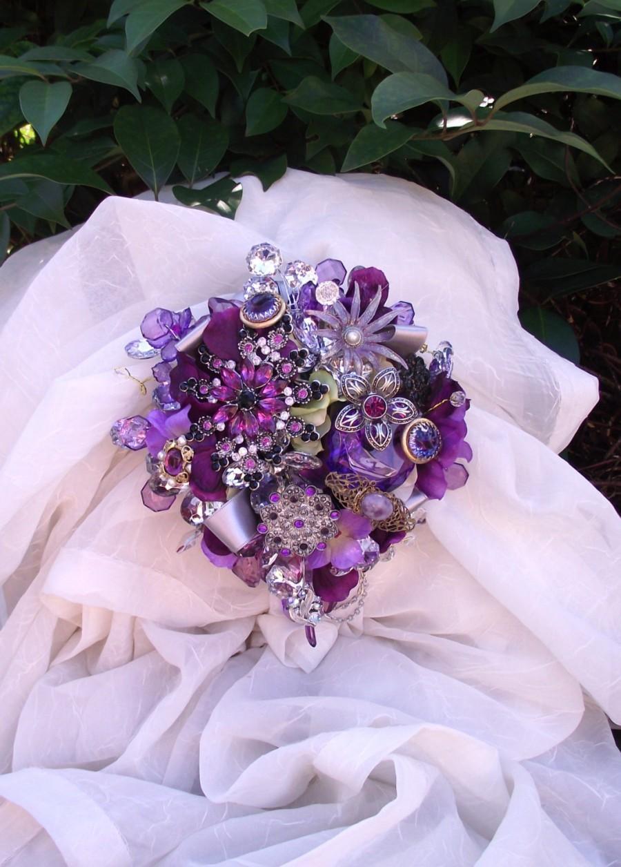 Hochzeit - Custom Order purple brooch bouquet, plum cascade wedding bouquet, vintage purple jewelry bouquet, cascade wedding bouquet, florist made,
