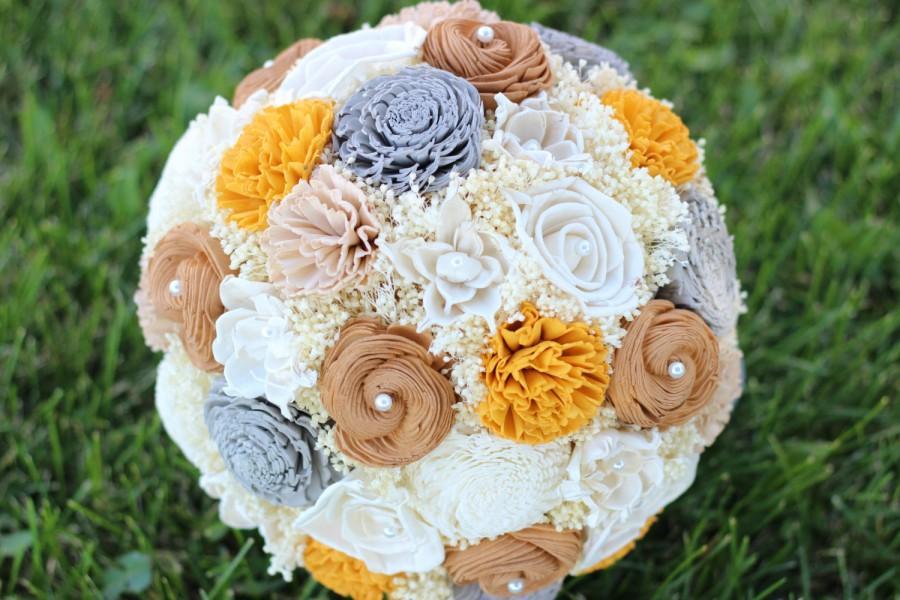 Mariage - Wedding Bouquet, Gray, Tan, Yellow, Ivory, Handmade Bridal Bouquet, Sola Flower Bouquet, Keepsake Bouquet, Woodland Bouquet