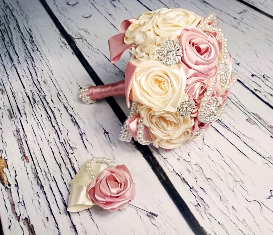 Свадьба - READY to SHIP Satin ribbon flowers wedding BOUQUET dusky pink ivory creme pearls sparkling brooches cotton lace vintage style custom