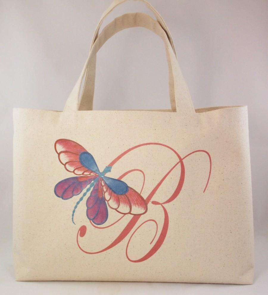 Свадьба - CANVAS BEACH TOTE,  Bridesmaids Gift Tote with Single Monogram, Dragonfly Nautical Beach Wedding, Large tote, Overnight Tote, Shopping Tote