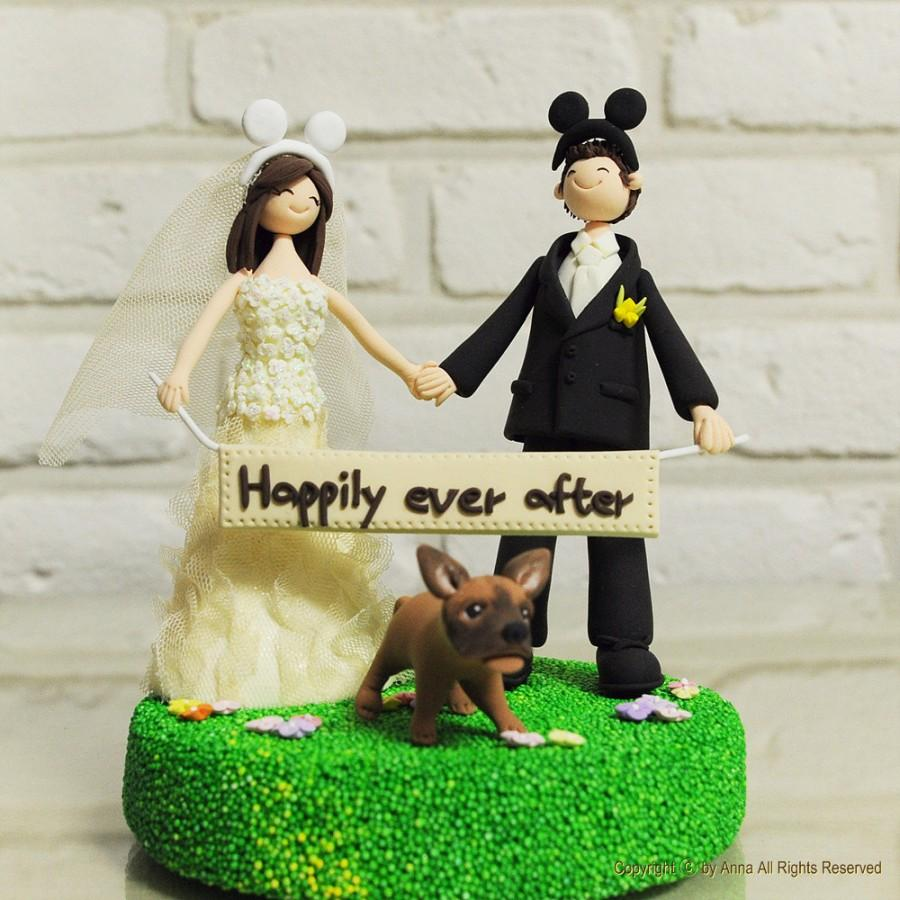 Свадьба - Custom Wedding Cake Topper - Mickey ear, holding Love sign, Happily ever after -