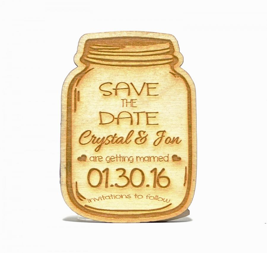 personalized rustic country wooden mason jar wedding save the date