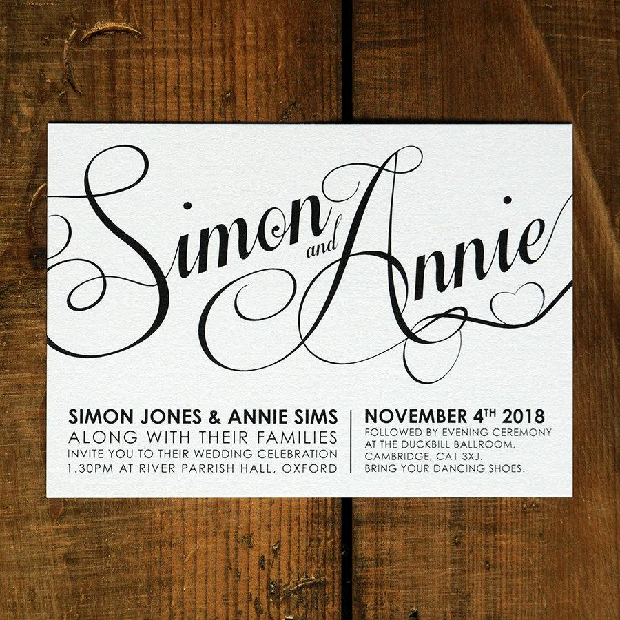 Modern Script - Wedding Invitation Set On Luxury Card - Modern ...