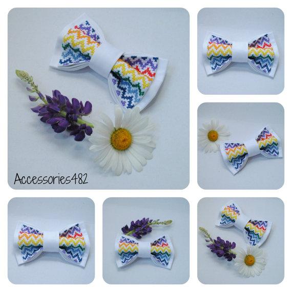 Wedding - mens bow tie embroidered rainbow chevron bowtie groom white wedding tie summer weddings gift colorful necktie groomsmen bow ties laços PBW1