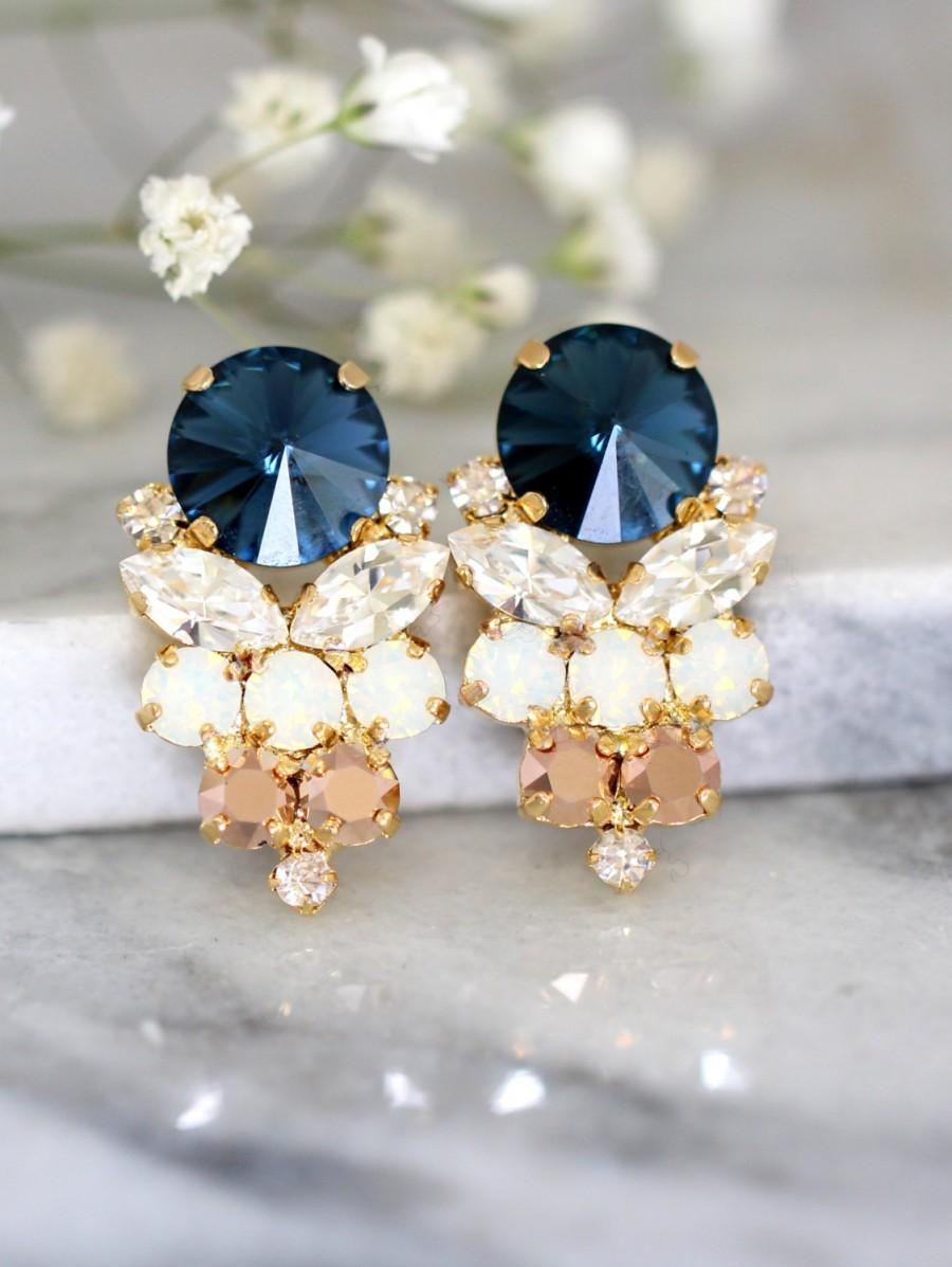 Свадьба - Blue Navy Earrings, Navy Blue Swarovski Earrings, Bridal Dark Blue Earrings, Gift For Her, Bridal Rose Gold Cluster Earrings,Blue Navy Studs