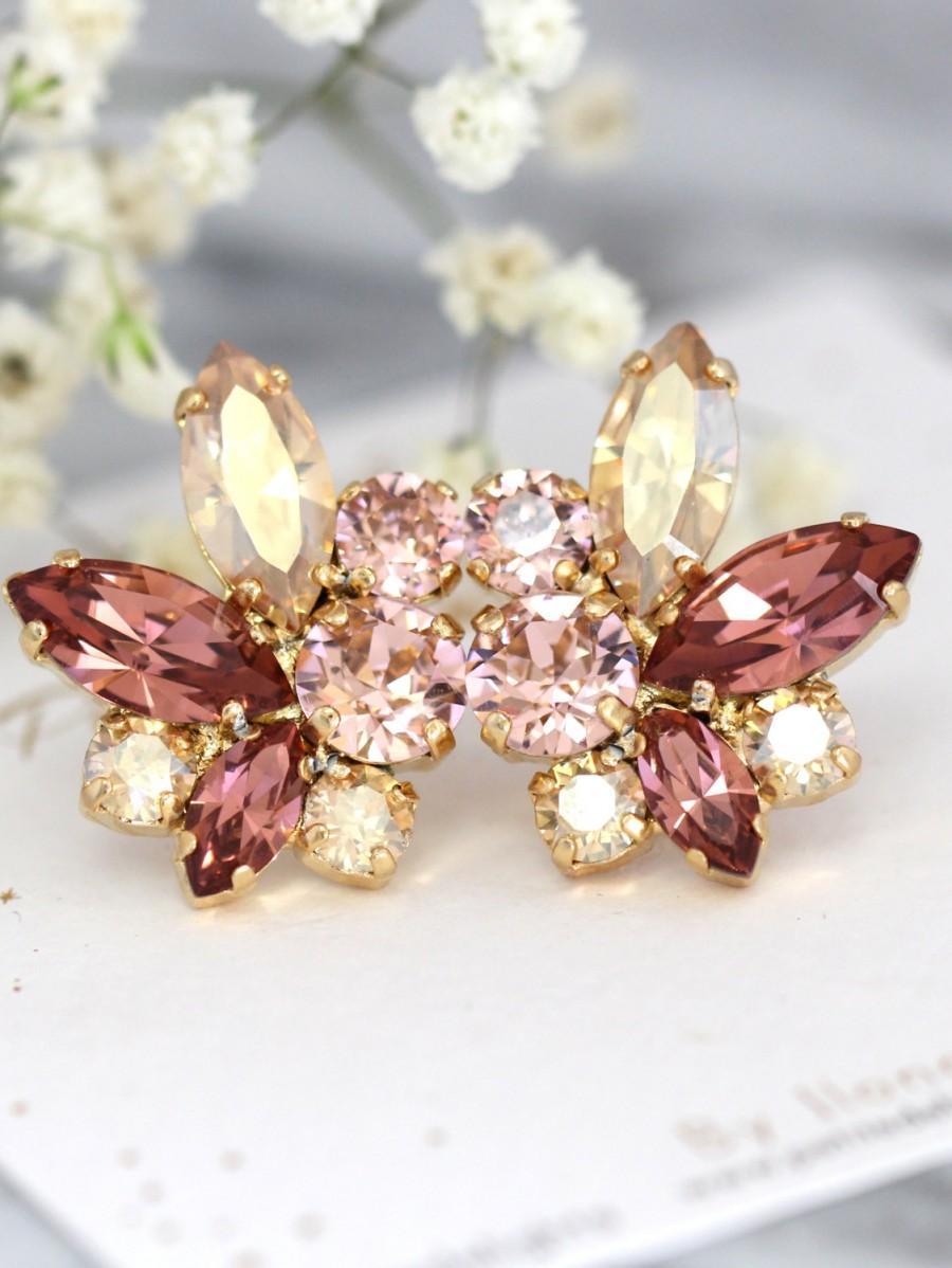 Hochzeit - Blush Champagne Earrings,Swarovski Blush Champagne Earrings,Bridal Cluster Earrings,Bridesmaids Earrings,Gift for her,Cocktail Earrings