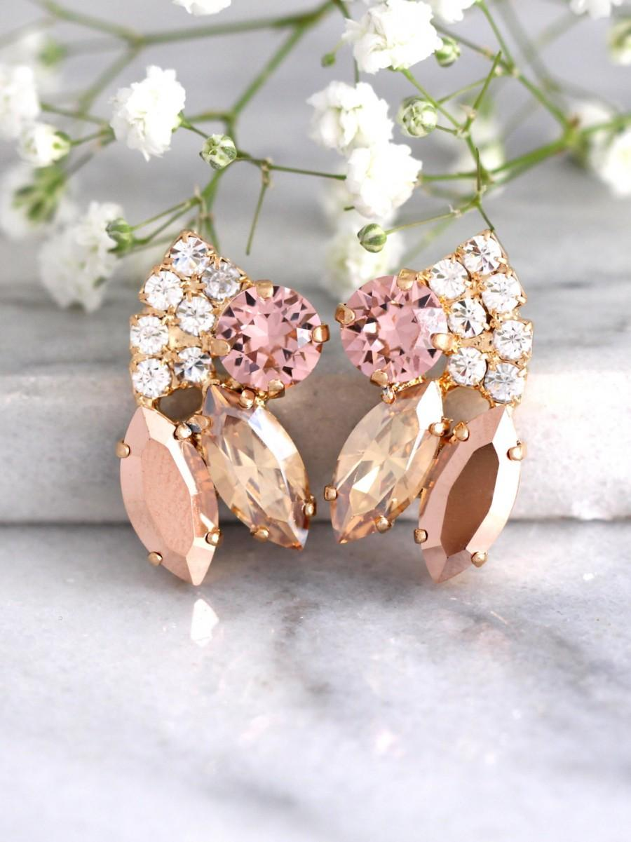 زفاف - Rose Gold Earrings, Bridal Blush Earrings, Bridal Rose Gold Earrings, Swarovski Bridal Earrings, Bridesmaids Earrings, Bridal Earrings