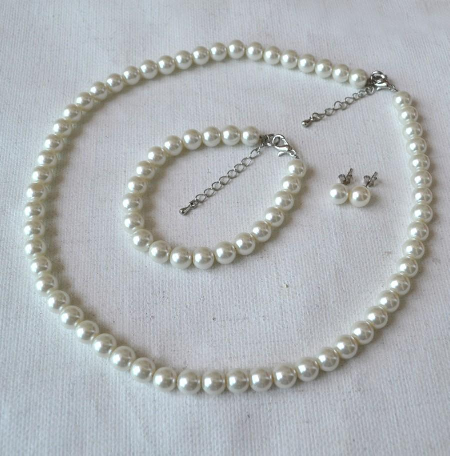 زفاف - ivory glass bead set, 8mm pearl necklace pearl bracelet and pearl earrings set,wedding bridesmaids pearl set,glass pearls set