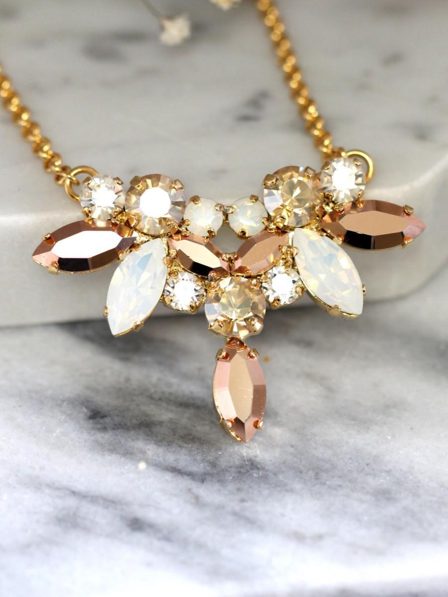 زفاف - Bridal Rose Gold Necklace, Bridal Swarovski Crystal Necklace, Bridal Rose Gold Necklace,White Opal Rose Gold Bridal Necklace, Bridal Jewelry
