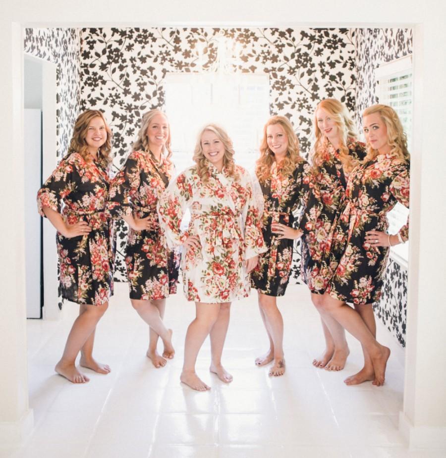 Set Of 6 Black Bridesmaids Robes Flower Present Maid Honor Shirt Bridesmaid Wedding Bride Pyjama Y Spa