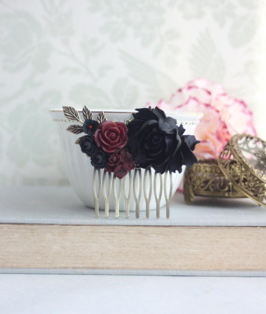 Black Rose Dark Red Burgundy Flowers Hair Comb Black Wedding Bridal ...