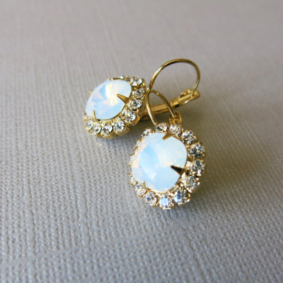 Opal Earrings Vintage Swarovski Crystal Dangle Bridal Jewelry Weddings