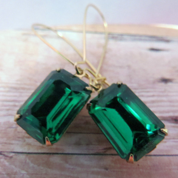 Свадьба - Gold Emerald Earrings Green Earrings Bridal Earrings Bridesmaid Gift, Emerald Green Earrings Wedding Earrings ~ Angelina Jolie