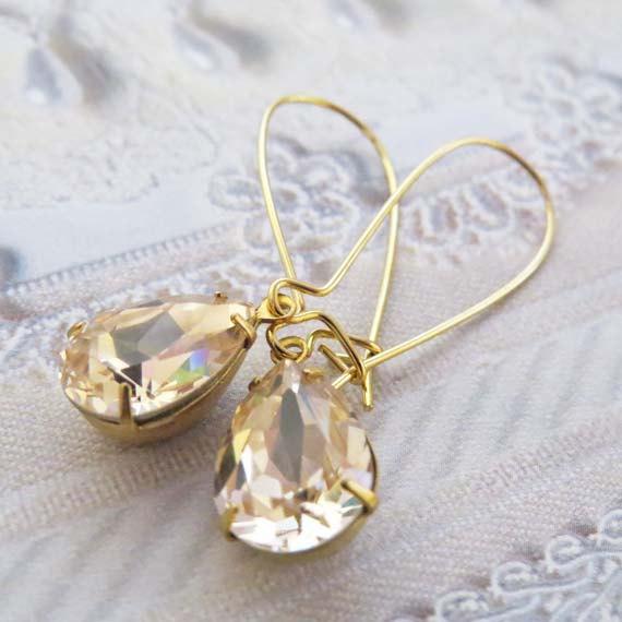 Champagne Earrings Teardrop Dangle Swarovski Crystal Gold Bridal Bridesmaid Gift Wedding Jewelry