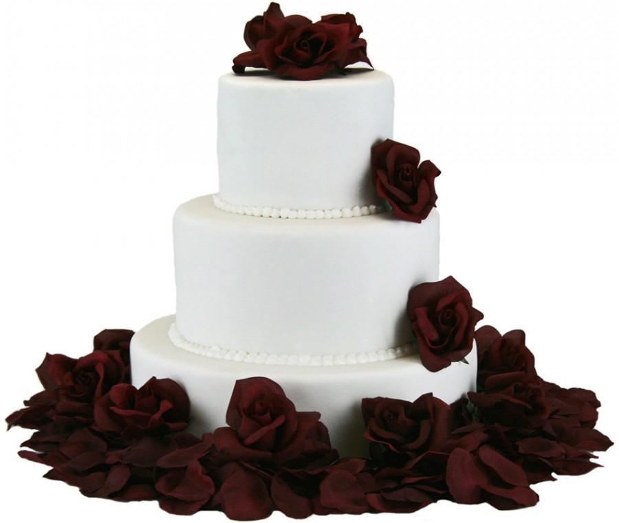 Mariage - Burgundy Silk Rose Cake Flowers - Reception Decoration