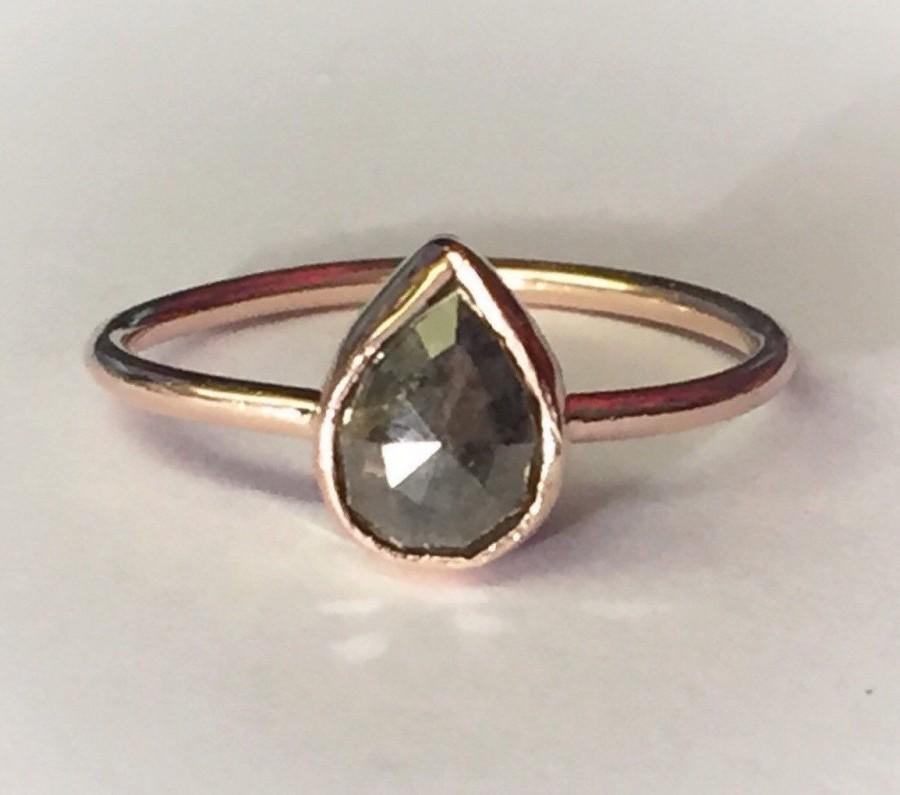 زفاف - Rose cut pear diamond ring, Rose Gold, grey pear rose cut diamond, 14k rose or yellow gold, can stom made to order