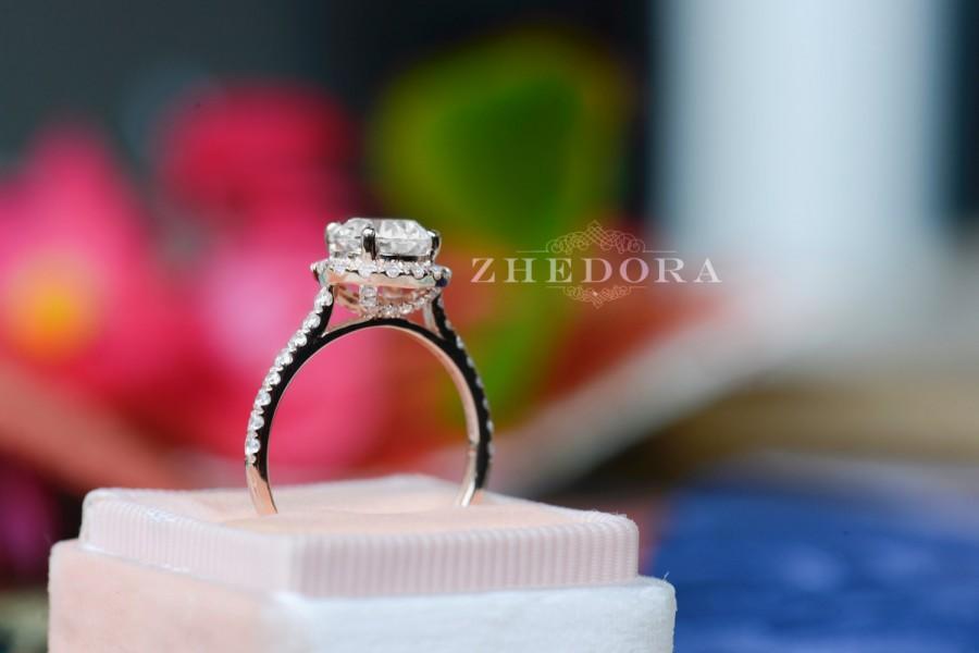 زفاف - 2.55 CT Engagement Ring Round Cut Halo Solid 14k Rose Gold Bridal band Lab-Created Stone Simulated Diamond