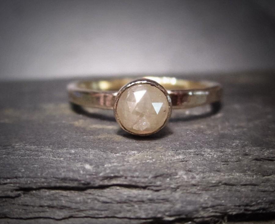Wedding - Rose Cut Diamond ring, Unique natural Diamond Engagement Ring, 14k Gold, rustic, alternative, modern, conflict free,