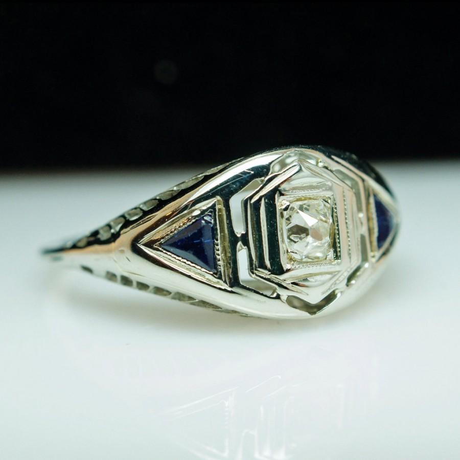 زفاف - Vintage Late Edwardian Platinum Old Mine Cut Diamond & Sapphire Ring - Size 6.5 - Free Sizing - Layaway Available