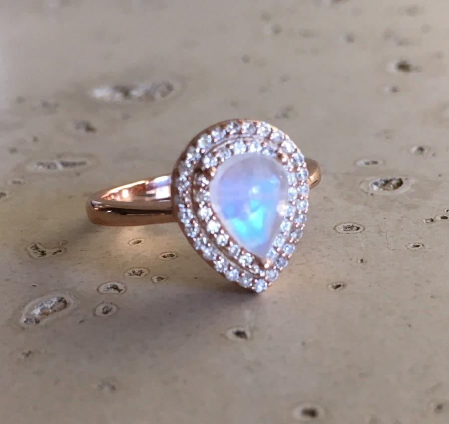 Свадьба - Rose Gold Moonstone Ring- Moonstone Ring- Solitaire Ring- Halo Ring- Sterling Silver Ring- June Birthstone Ring- Promise Ring for Her