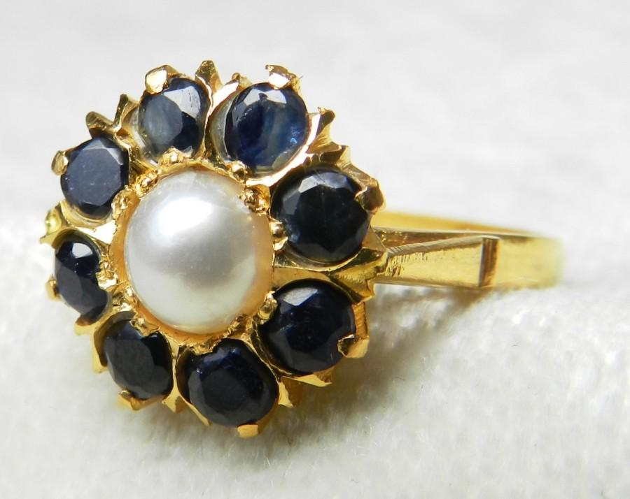 Mariage - Pearl Ring Antique Pearl Engagement Ring 6.0mm Pearl 1.20 cttw Blue Sapphire Halo Vintage Engagement Ring 22k yellow gold Unique Engagement