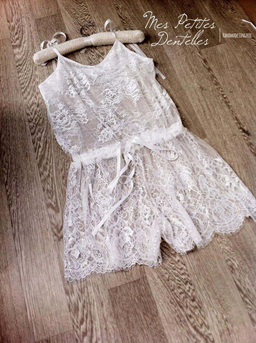 Свадьба - Anna Bridal lace romper - Chantilly Ivory lace - Bridal lingerie honeymoon - lace romper , bridal romper , honeymoon romper , romper