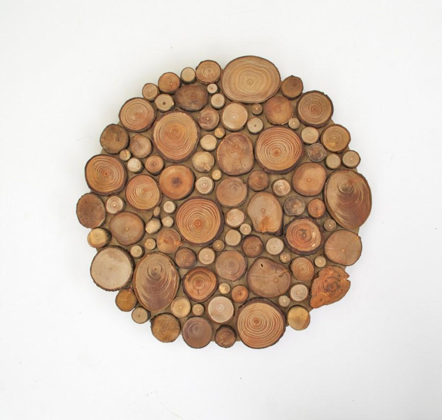 Rustic circular wood tree slice centerpiece decorative for How to slice wood
