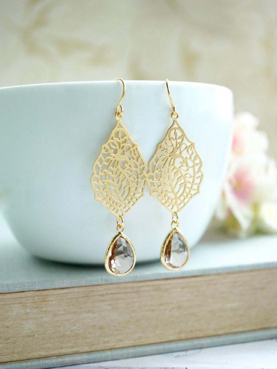 زفاف - Bridal Earrings, Peach and Gold Earrings Gold Plated Dangle Earring Paisley Filigree Earrings Bridesmaid Gifts Peach Wedding Peach Champagne