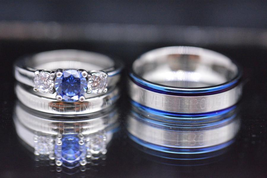 Sapphire Blue CZ 3 Piece Couples Custom Wedding Set Free Inside Engraving Message Outside Classy Discrete One Of A Kind