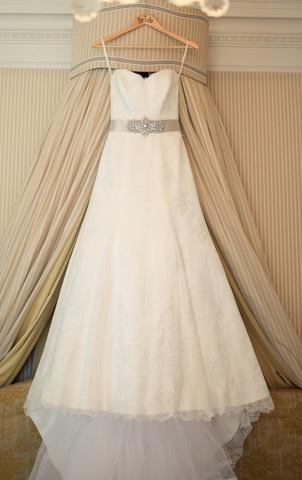 Hochzeit - Suzanne Neville Lace Strapless A-line Wedding Dress