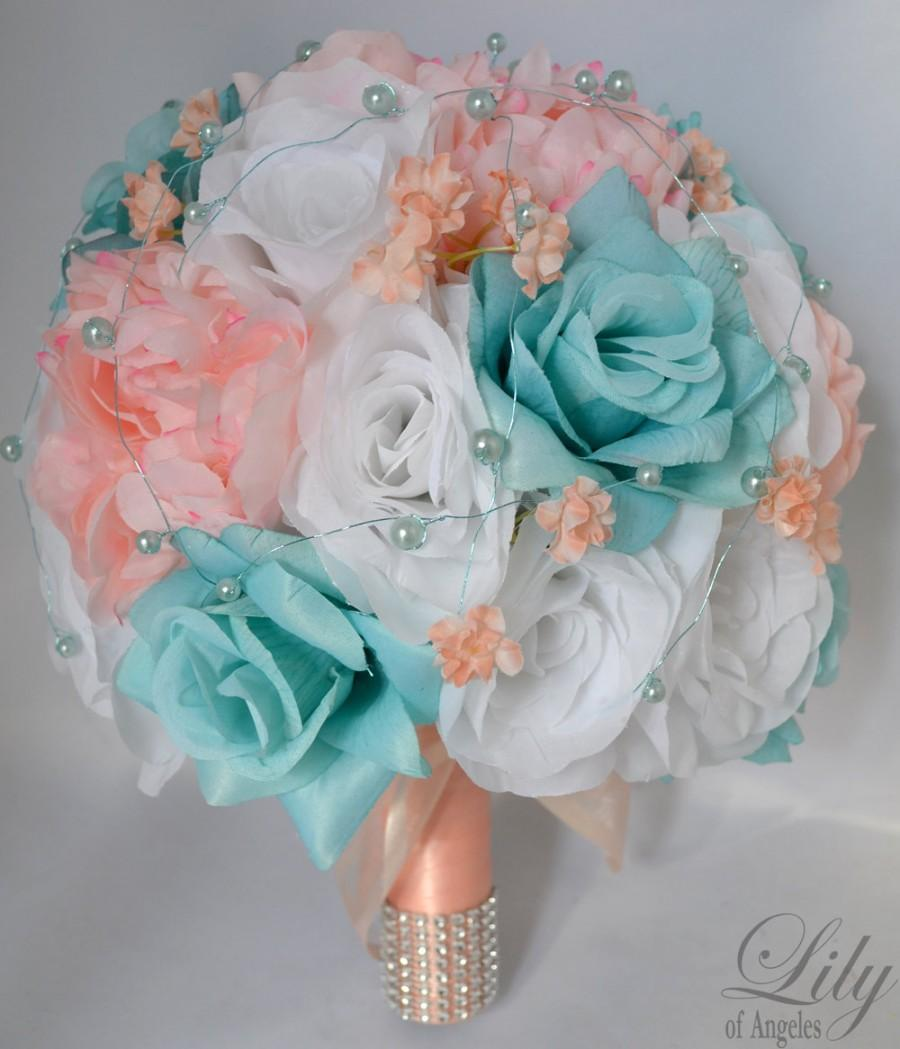 """Mariage - 17 Piece Package Wedding Bridal Bride Maid Of Honor Bridesmaid Bouquet Boutonniere Corsage Silk Flower AQUA PEACH """"Lily Of Angeles"""" BLPI03"""