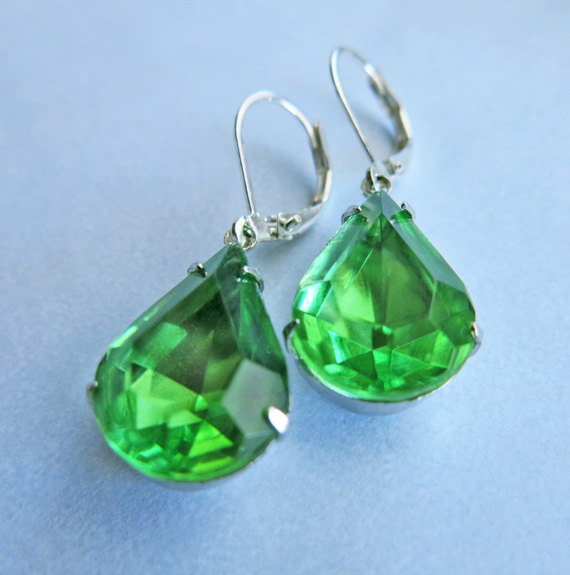 Wedding - Vintage Earrings Peridot Green Earrings, Bridal Jewelry, Bridal Earrings, Wedding Jewelry