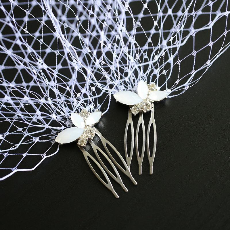 Mariage - Wedding Bridal Bride's Veil Standard 9 inch Birdcage Veil White Color Bandeau Style Blusher Rhinestone Hair Combs