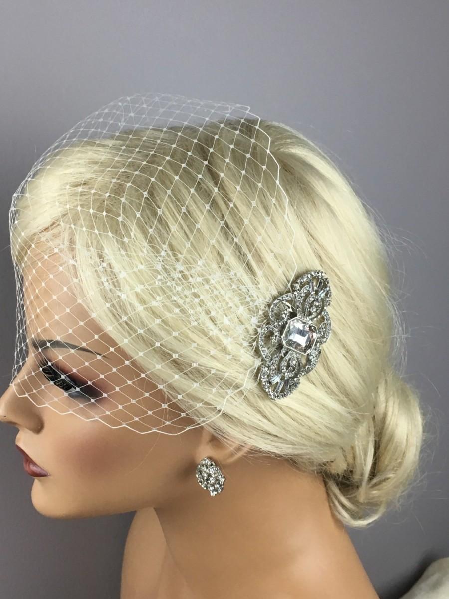 Свадьба - Bridal Vintage Brooch Birdcage Veil, Vintage Style Silver/Rose-Gold Brooch,  Blusher/Bandeau BirdCage Veil, Detachable Brooch Comb -
